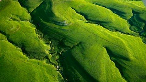 Thung lũng trên núi Kansas Texaco, một bộ phận của Tallgrass Prairie National Preserve. Thảo nguyên Tallgrass từng phủ khoảng 140 triệu mẫu Anh (57triệu ha) của Bắc Mỹ nhưng hiện nay hơn 95%đã biến mất